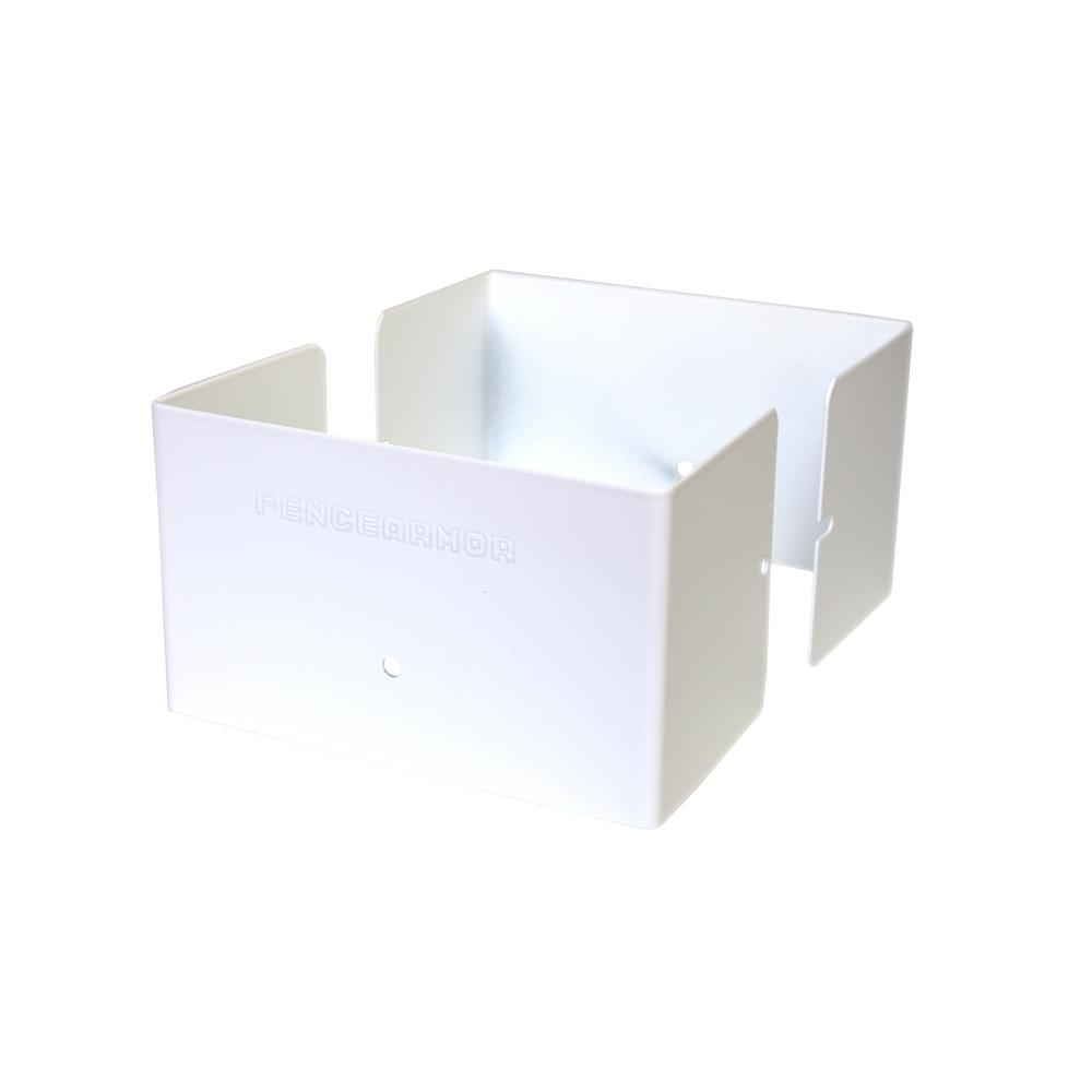 Fence Armor 4 in. L x 4 in. W x 1/4 ft. H White Fence Post Guard for ...