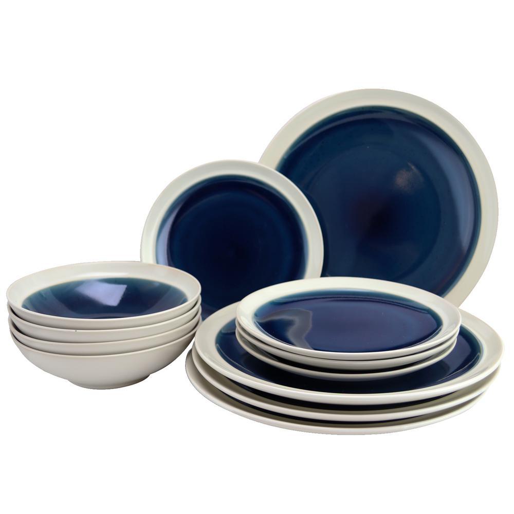 Clementine 12-Piece Blue Dinnerware Set