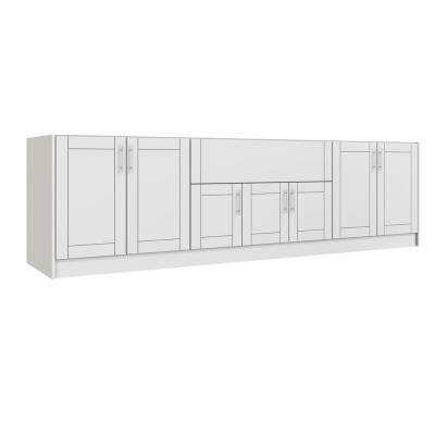 Miami Shell White 20-Piece 120 in. x 34.5 in. x 27 in. Outdoor Kitchen Cabinet Island Set