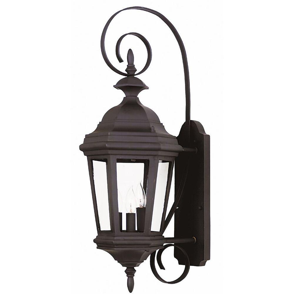 Estate 3-Light Black Medium Wall Lantern