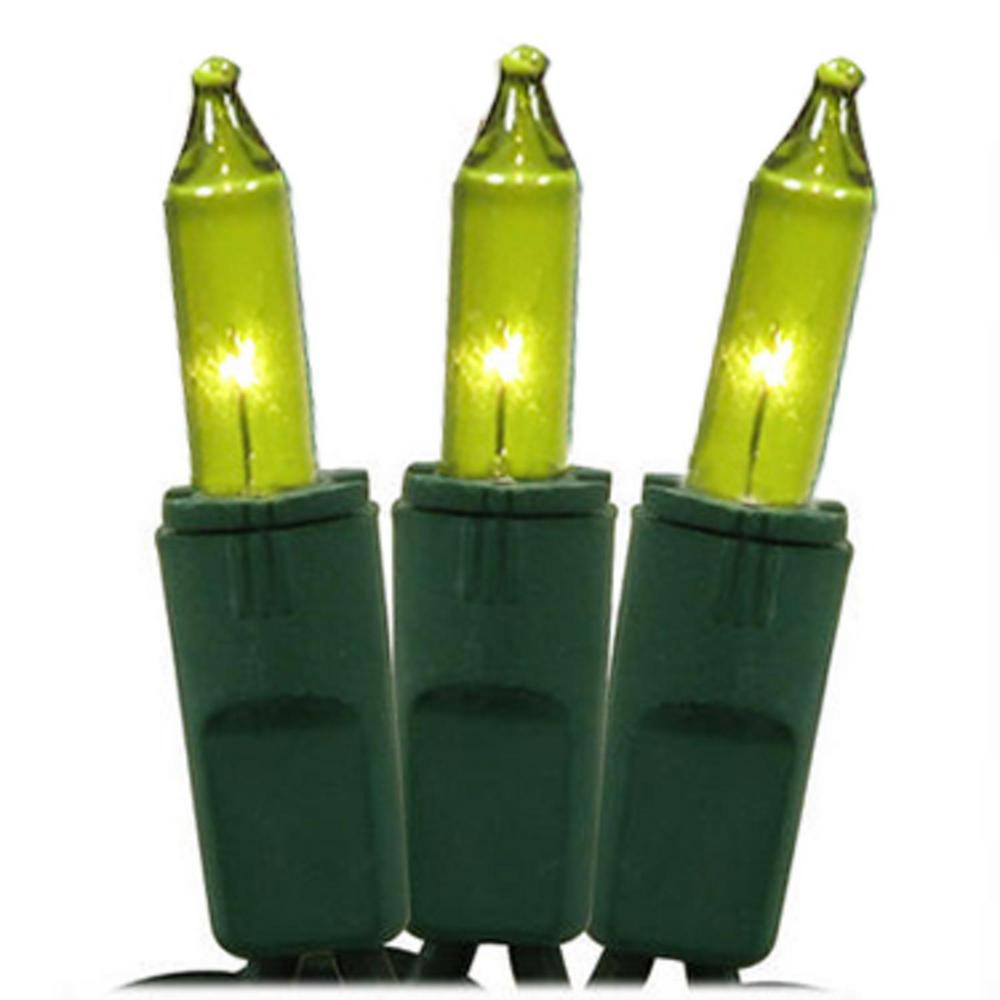 Mini Christmas Lights.Gki Bethlehem Lighting Set Of 50 Chartreuse Green Perm O Snap Mini Christmas Lights Green Wire