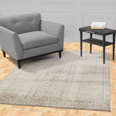 Jasmin Collection Moroccan Trellis Design Gray and Ivory 7 ft. x 9 ft. Area Rug