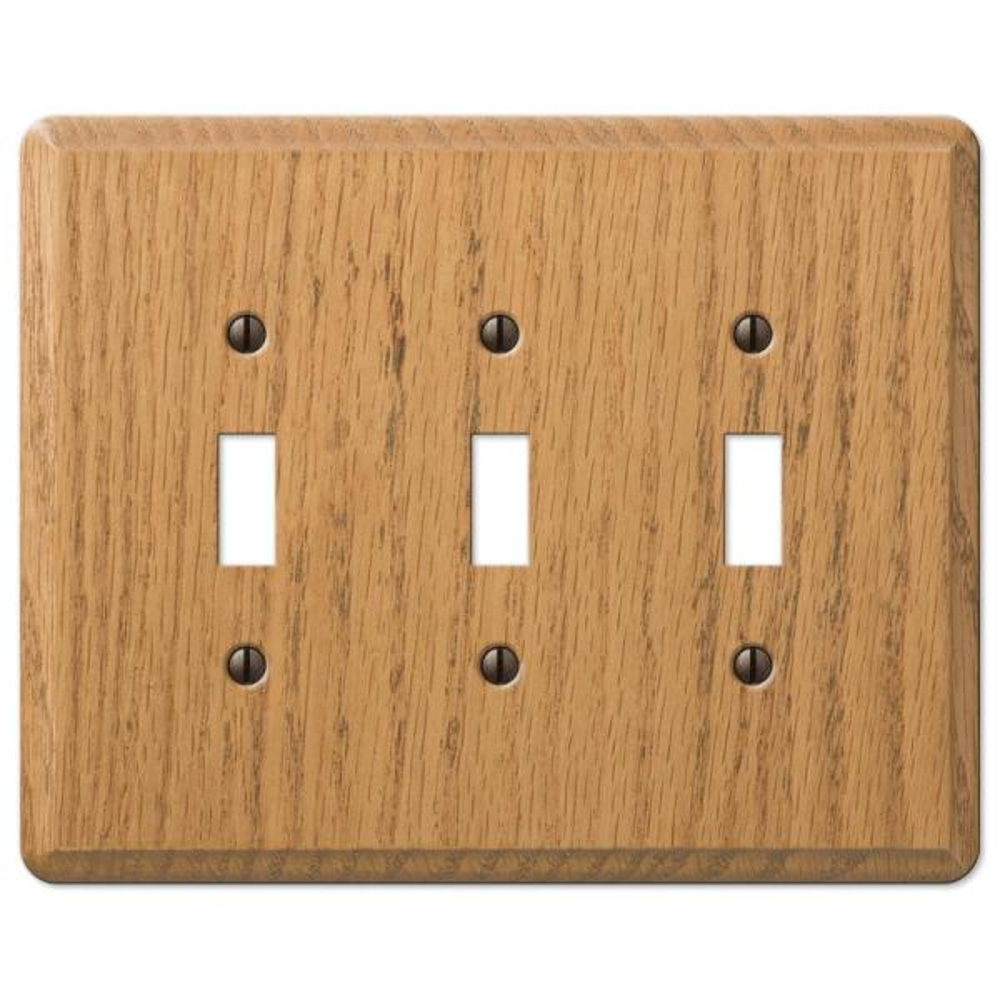 Contemporary 3 Gang Toggle Wood Wall Plate - Light Oak
