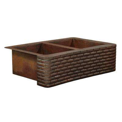 Bernini Farmhouse Apron Front Handmade Pure Solid Copper 33 in. Double Bowl 50/50 Kitchen Sink with Brick Design