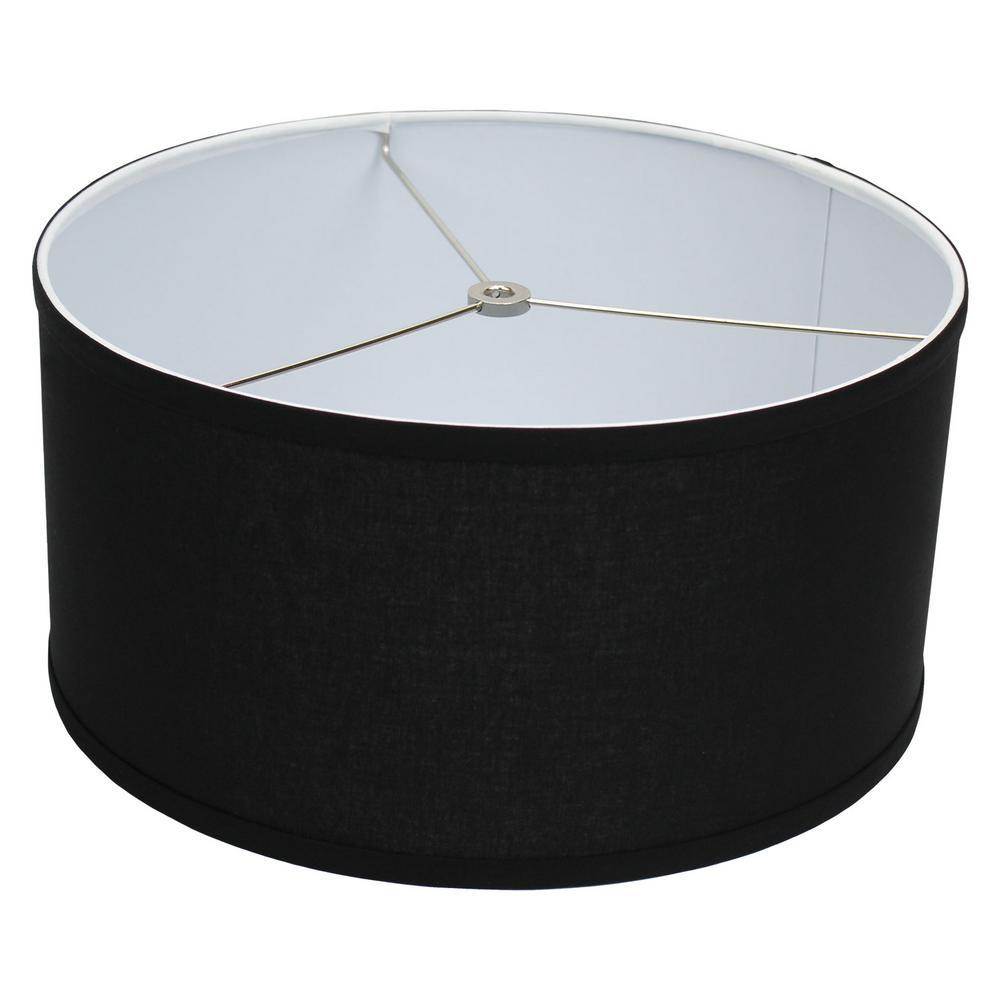Fenchel Shades 14 in. Top Diameter x 14 in. Bottom Diameter x 7 in. Height, Drum Lamp Shade - Linen Black