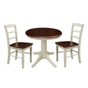 Olivia 3-Piece Almond and Espresso Dining Set with 30 in. Round Table and Pair of Madrid Chairs