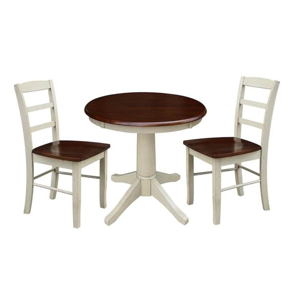 International Concepts Olivia 3-Piece Almond and Espresso Dining Set with 30