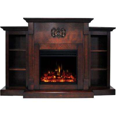 Sanoma 72 in. Electric Fireplace Heater in Mahogany with Mantel, Bookshelves, Enhanced Multi-Color Log Display, Remote