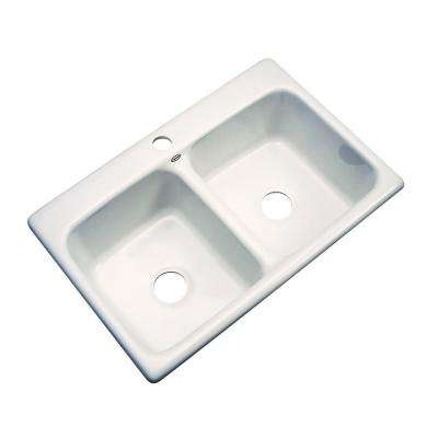Newport Drop-In Acrylic 33 in. 1-Hole Double Bowl Kitchen Sink in Biscuit