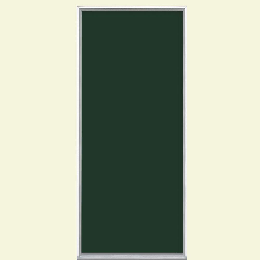 Masonite 30 in. x 80 in. Flush Conifer Painted Steel Prehung Front Door No Brickmold in Vinyl Frame