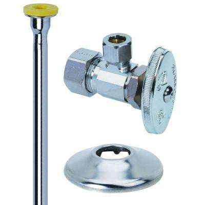 Toilet Kit: 1/2 in. Nom Comp x 3/8 in. O.D. Comp Brass Multi-Turn Angle Valve with 12 in. Riser and Flange