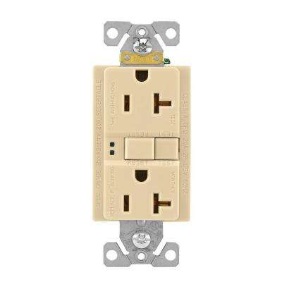 GFCI Self-Test 20A -125V Duplex Receptacle with Standard Size Wallplate, Ivory