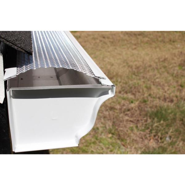 Spectra Metals 5 In X 4 Ft Armour Screen Lock On Gutter Guard 25 Pro Pack Gs501lc25 The Home Depot