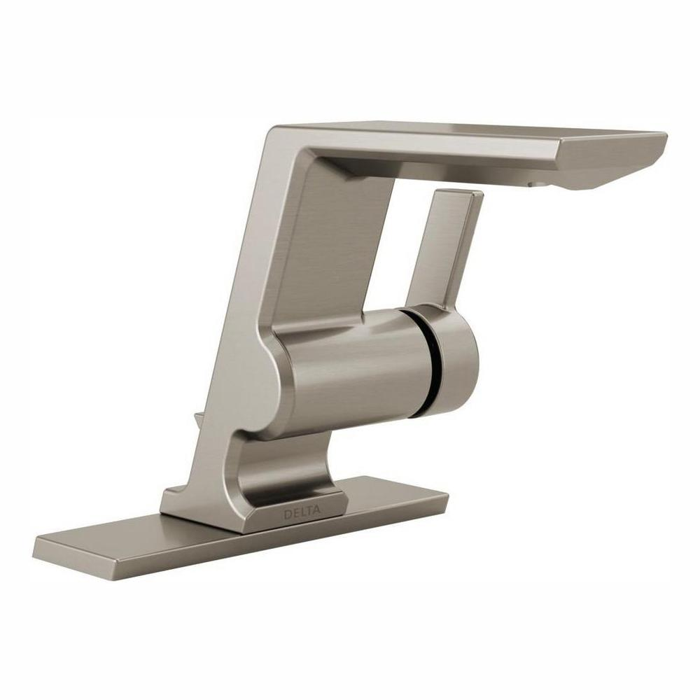 Delta Pivotal Single Hole Single-Handle Bathroom Faucet with Metal Drain Assembly in Stainless