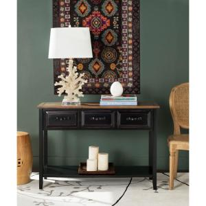 Michael Black and Oak Storage Console Table