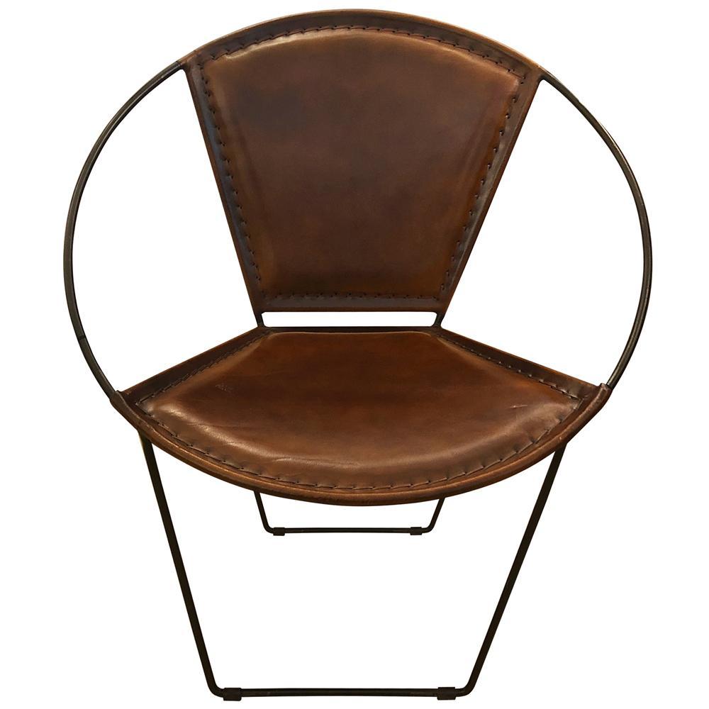 StyleCraft Brown Hide Hoop Lounge Chair ISF24920DS
