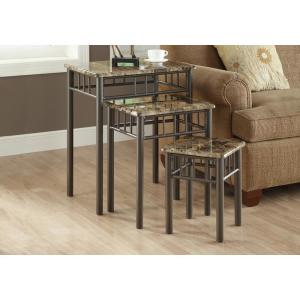 Monarch Specialties Cappuccino Marble 3-Piece Nesting End Table by Monarch Specialties
