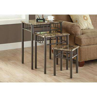 Cappuccino Marble 3-Piece Nesting End Table
