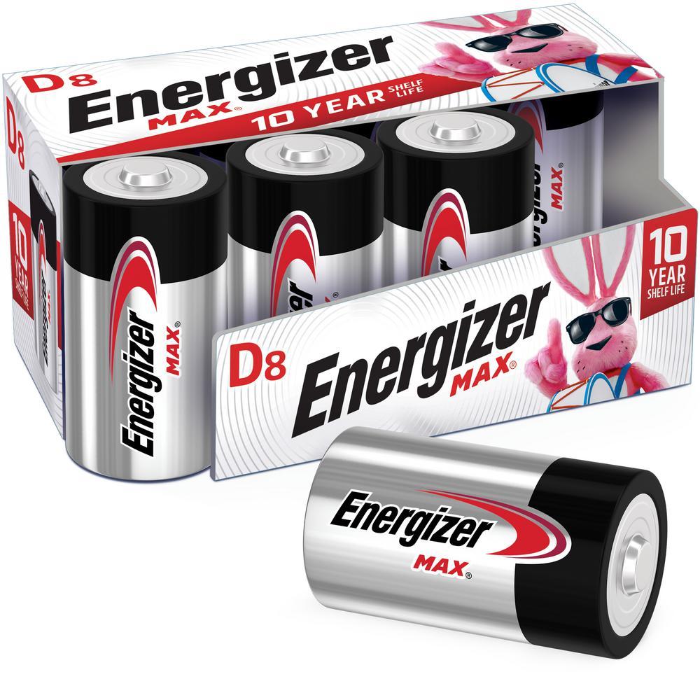 MAX D Batteries (8 Pack), D Cell Alkaline Batteries