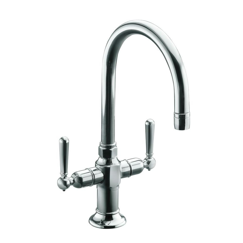 KOHLER HiRise 2-Handle Bar Faucet in Polished Stainless Steel