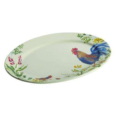 Dinnerware Garden Rooster 10 in. x 14 in. Stoneware Oval Serving Platter with Print