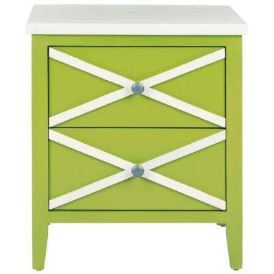 Charming Sherrilyn Lime Green Storage Side Table