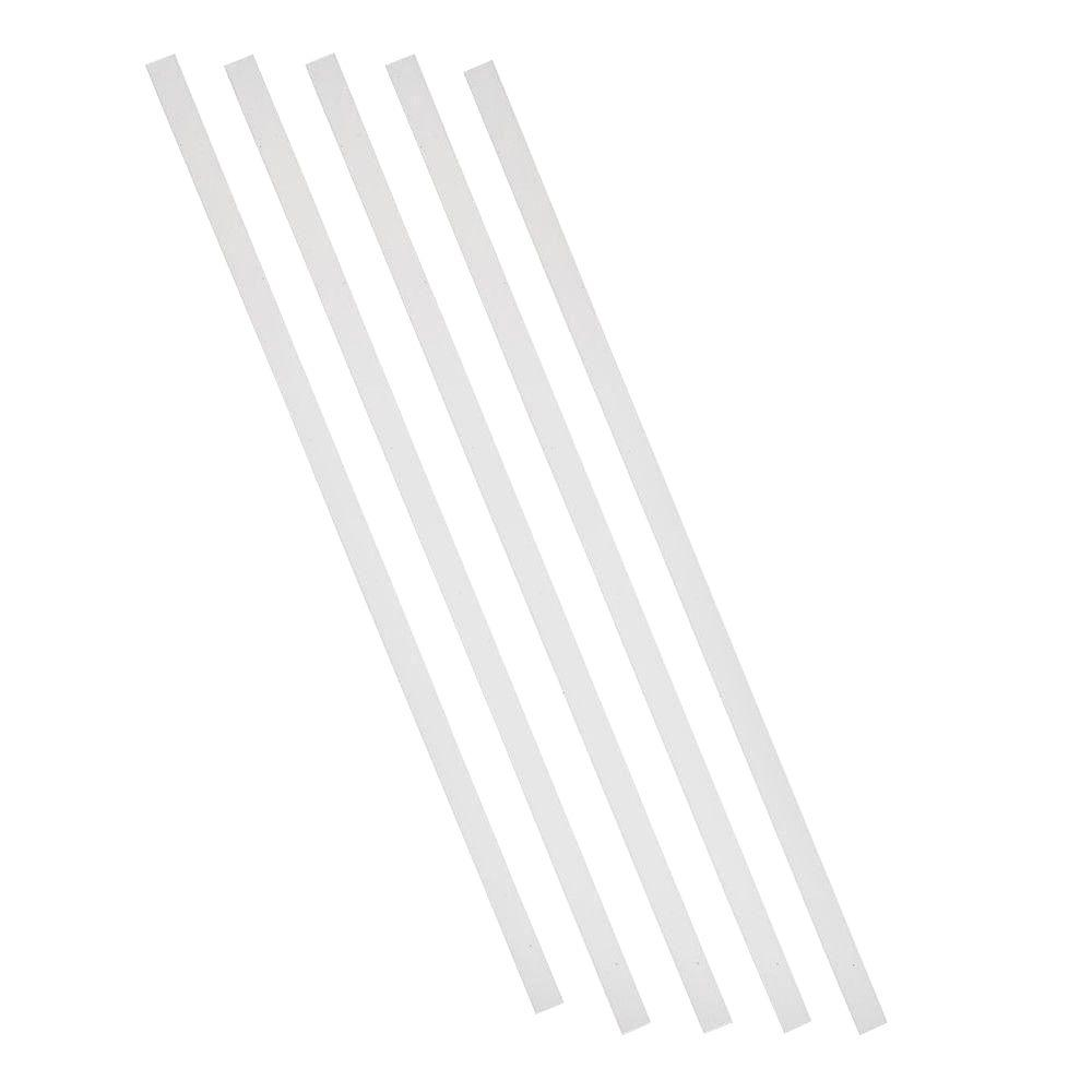 32 in. x 3/4 in. White Aluminum Square Deck Railing Baluster (5-Pack)