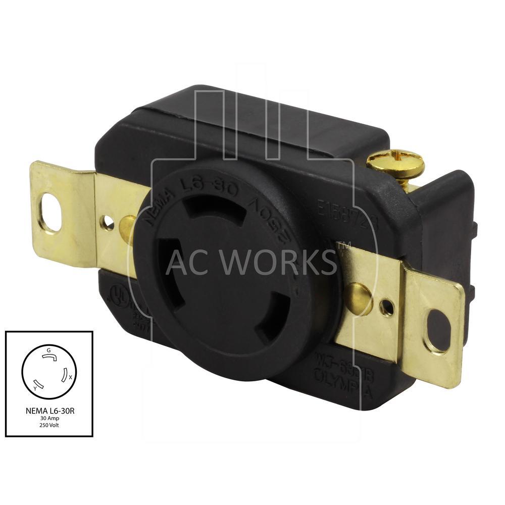 ac works 30 amp 250 volt nema l6 30r flush mounting locking industrial grade receptacle 30 amp 250 volt plug wiring diagram nema l6 30p