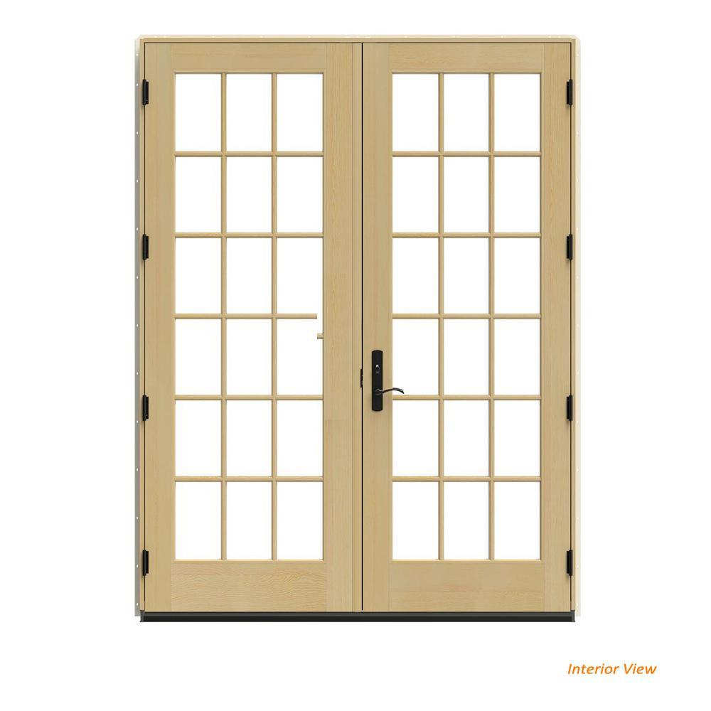 JELD-WEN 72 in. x 96 in. W-4500 Black Clad Wood Left-Hand 18 Lite French Patio Door w/Unfinished Interior