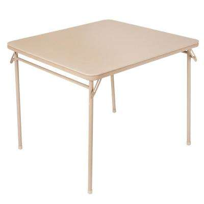 34 in. Antique Linen Vinyl Top Folding Card Table