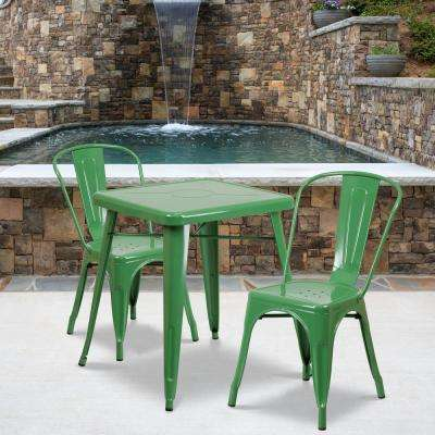 Green 3-Piece Metal Square Outdoor Bistro Set