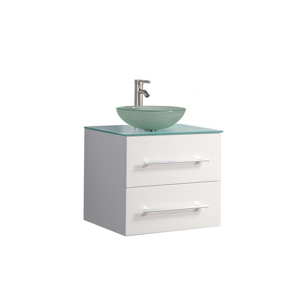 MTD Vanities Caen 36 in. W x 20 in. D x 26 in. H Floating Vanity in White with Tempered Glass Vanity Top with Frosted Glass Basin