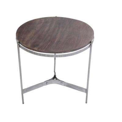 Brown Wooden Round Top Table with 3-Leg Metal Stand