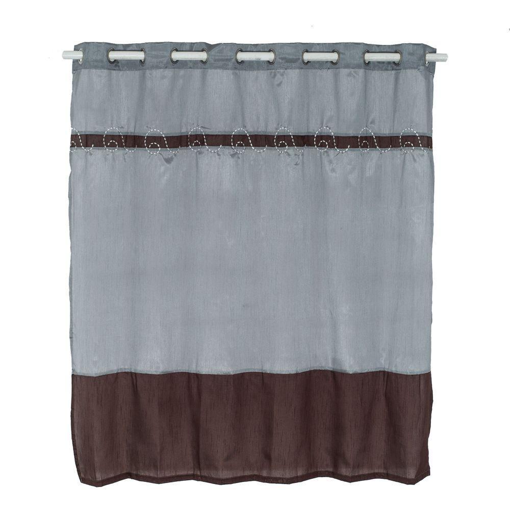 Lavish Home Claridge 72 in. Embroidered Shower Curtain in Grey