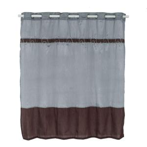 Lavish Home Claridge 72 inch Embroidered Shower Curtain in Grey by Lavish Home