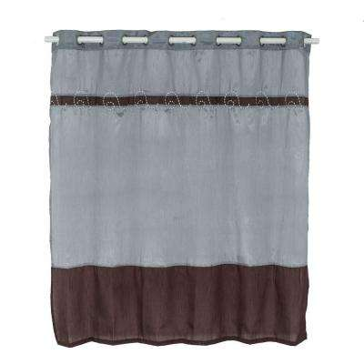 Claridge 72 In Embroidered Shower Curtain Grey