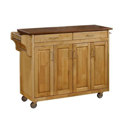 Create-a-Cart Natural Kitchen Cart with Oak Wood Top