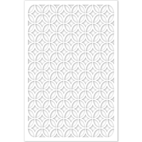 Moors Ellipses 32 in. x 4 ft. White Vinyl Decorative Screen Panel