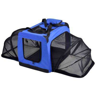 Hounda Accordion Metal Framed Collapsible Expandable Pet Dog Crate - Large in Blue