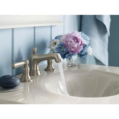 Bancroft 8 in. Widespread 2-Handle Low-Arc Bathroom Faucet in Vibrant Brushed-Nickel