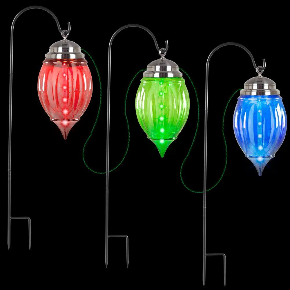 lightshow multi color shooting star pathway ornament stakes set of 3 - Christmas Pathway Decorations