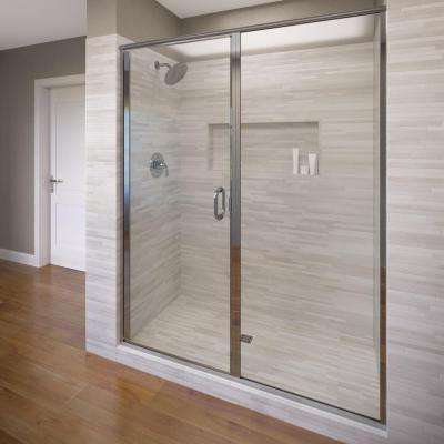Infinity 47 in. x 72-1/8 in. Semi-Frameless Hinged Shower Door in Silver with Clear Glass