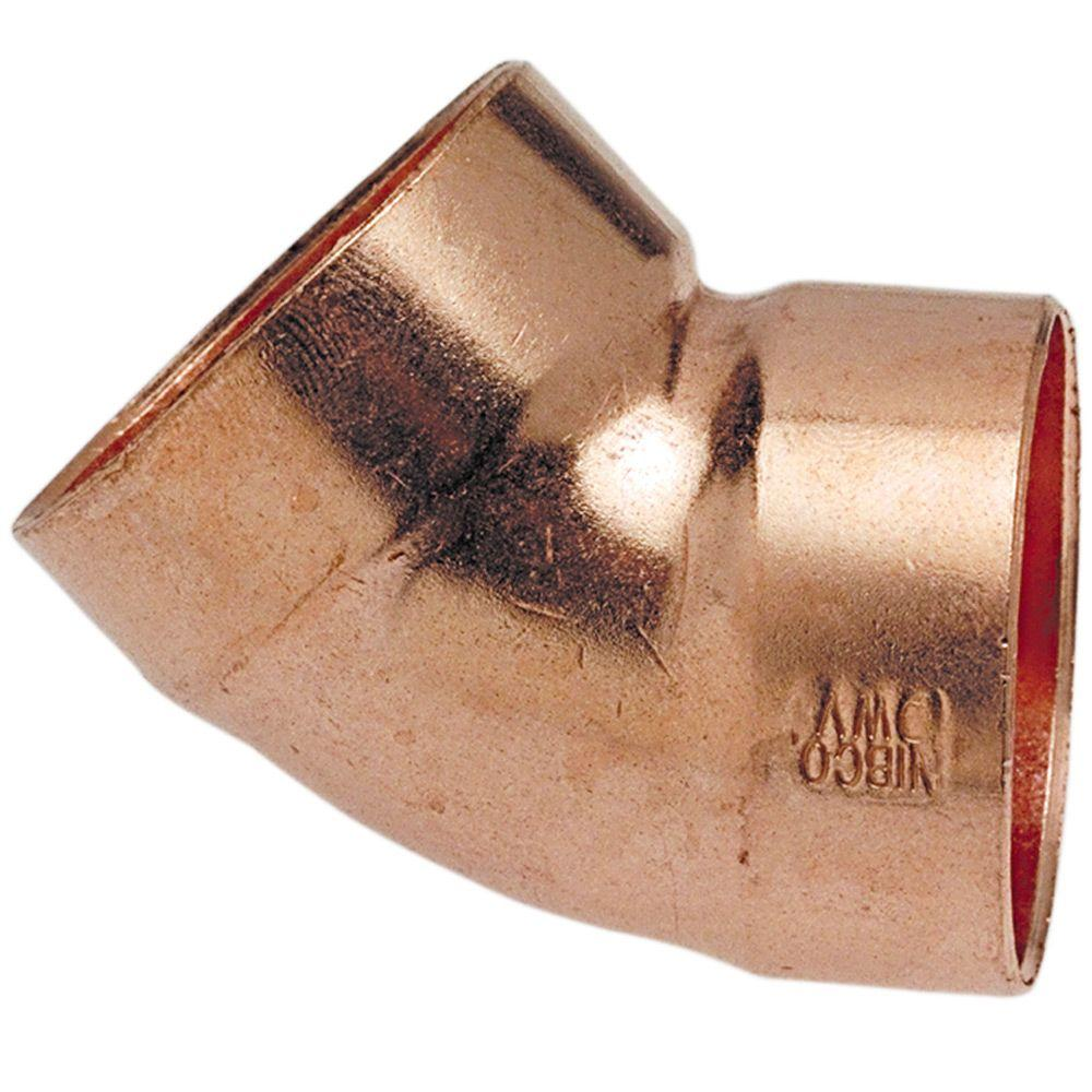 null 1-1/4 in. Copper DWV 45-Degree C x C Elbow