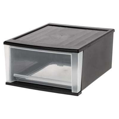 32 Qt. Stacking Storage Bin in Black
