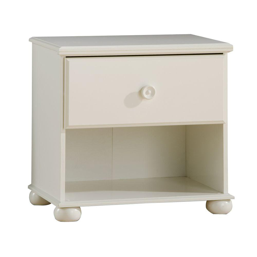 South Shore Sand Castle 1-Drawer Nightstand in Pure White