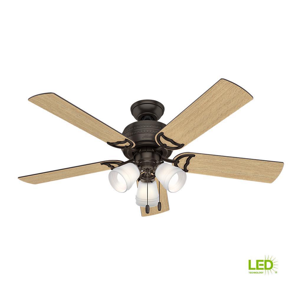 Prim 52 in. LED Indoor 3-Light Premier Bronze Ceiling Fan