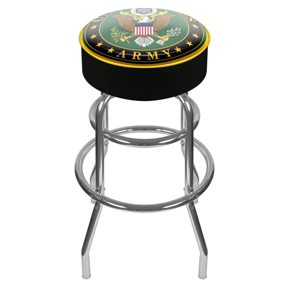U.S. Army Symbol 31 in. Chrome Padded Swivel Bar Stool, Black