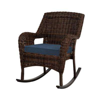 Cambridge Brown Resin Wicker Outdoor Rocking Chair with Blue Cushion
