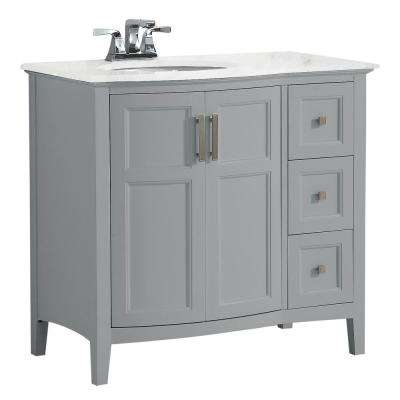 Winston 36 in. Rounded Front Bath Vanity in Warm Grey with Marble Extra Thick Vanity Top in Bombay White with Basin