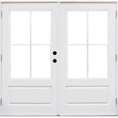72 in. x 80 in. Fiberglass Smooth White Left-Hand Outswing Hinged 3/4-Lite Patio Door with 4-Lite SDL